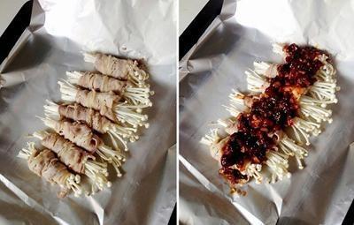 Cách làm bò cuộn nấm nướng giấy bạc